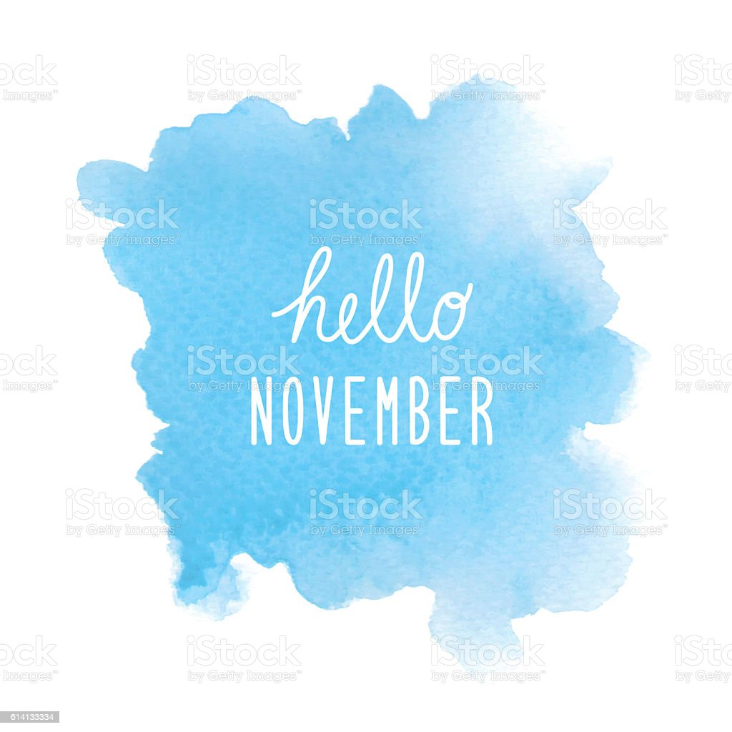 hello november greeting with blue watercolor background こんにちは