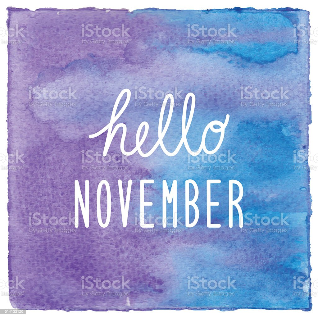 hello november on blue and violet watercolor background こんにちは