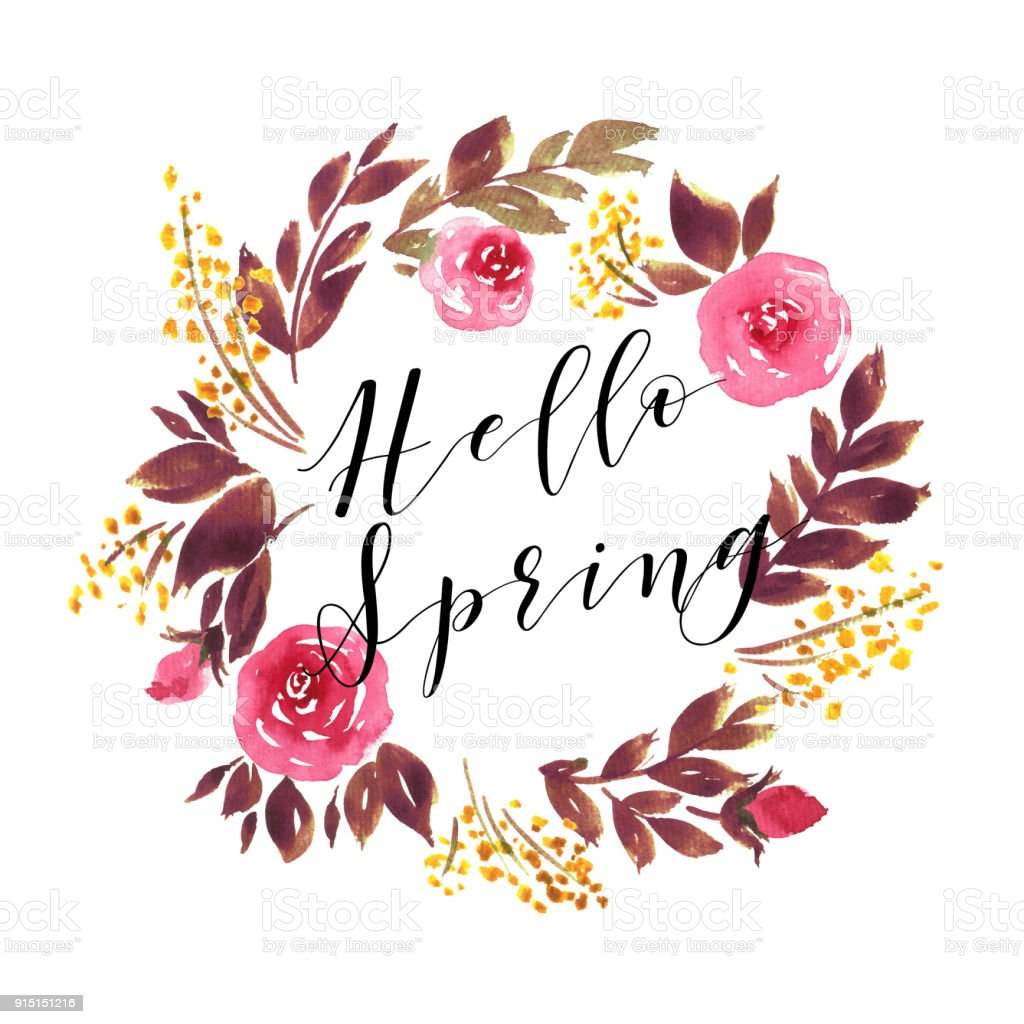 Hello Spring Typography Watercolor Wreath Of Pink Roses ...