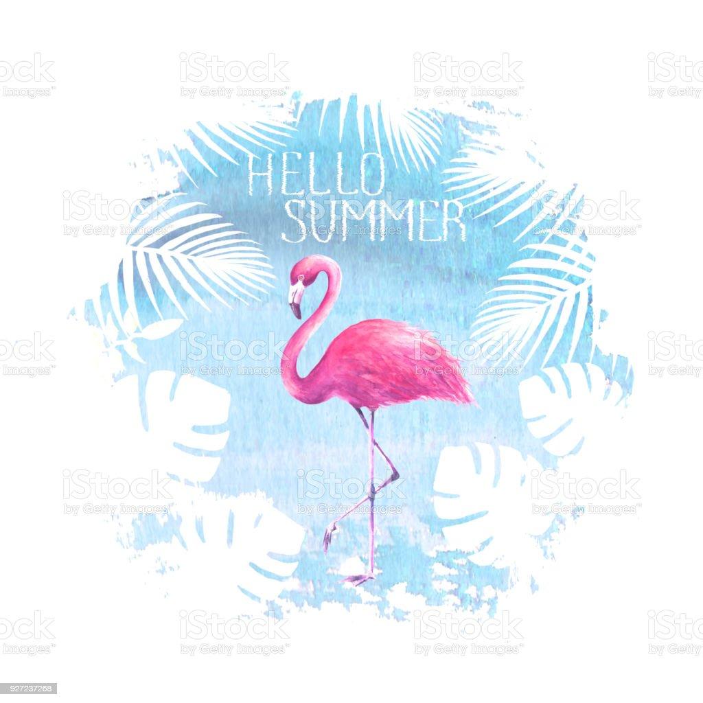 Hello Summer Lettering Flamingo Blue Poster Stock