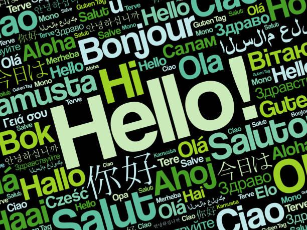 illustrazioni stock, clip art, cartoni animati e icone di tendenza di hello word cloud in different languages - lingua