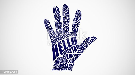 Foreigh Languages. Hello Word Collage In Different Languages Forming Open Palm Hand Shape. Blue Typography Greetings On Gray Background. Panorama