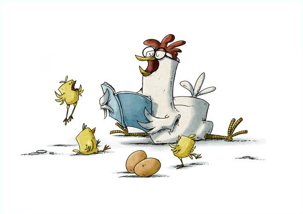 hen with glasses is reading a story to three yellow chicks who are very happy. isolated vector art illustration