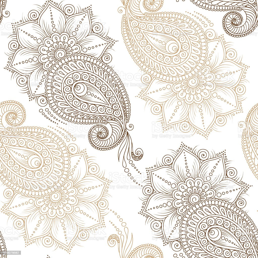 Henna Mehndi Tattoo Doodles Seamless Pattern vector art illustration