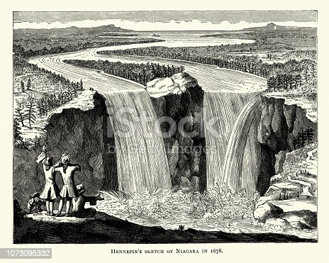 Vintage engraving of Hennepin's sketch of Niagara Falls in 1678, 17th Century
