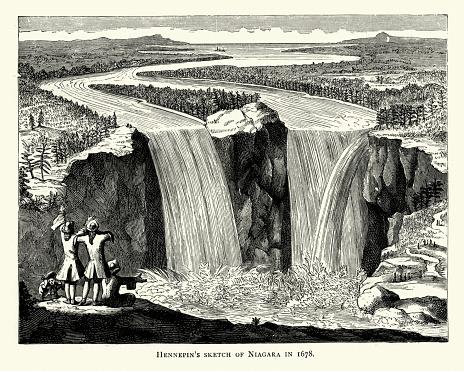 Vintage engraving of Hennepin's sketch of Niagara Falls in 1678, 17th Century