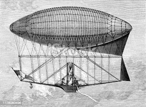 Henri Dupuy de Lôme Navigable balloon first design date October 1870 from Magasin Pittoresque. Vintage etching circa mid 19th century.