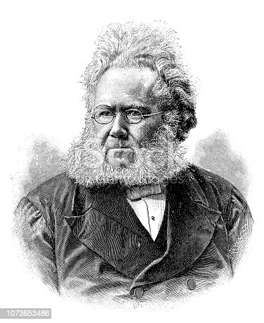 Illustration of a Henrik Ibsen was a Norwegian playwright, theater director, and poet