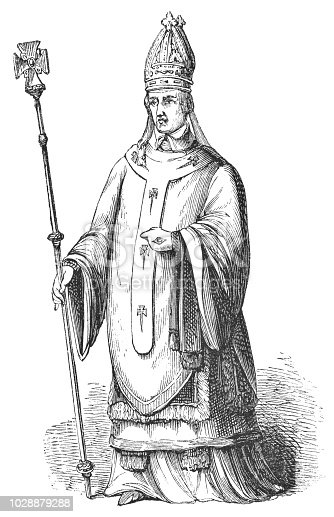 Portrait of Henry Chichele, Archbishop of Canterbury from the Works of William Shakespeare. Vintage etching circa mid 19th century.