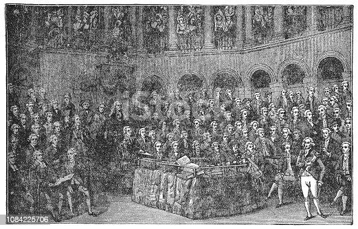 Henry Grattan addressing the Irish House of Commons (circa 18th centurty). Vintage halftone etching circa late 19th century.