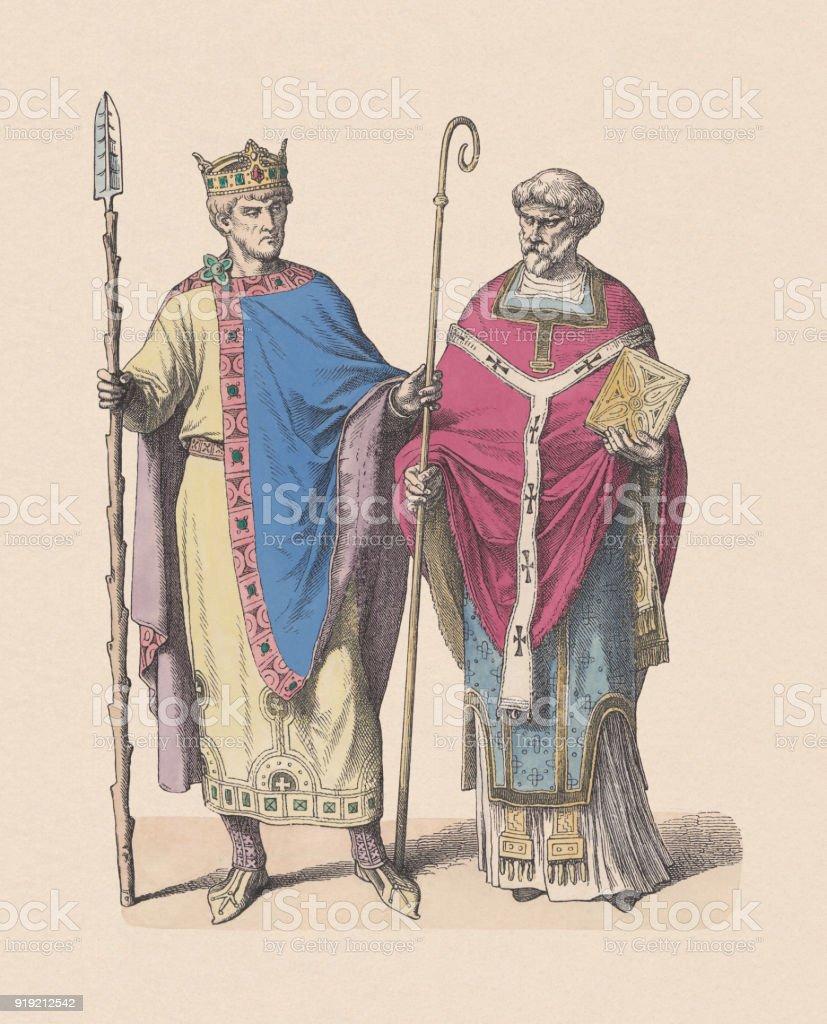 Henry II (973-1024) and a Frankish bishop, published c. 1880 vector art illustration