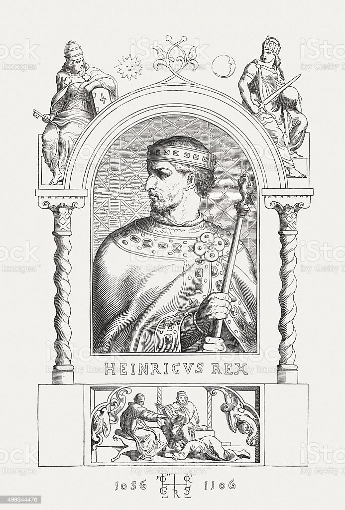 Henry IV (1050 - 1106), German emperor, published in 1876 vector art illustration