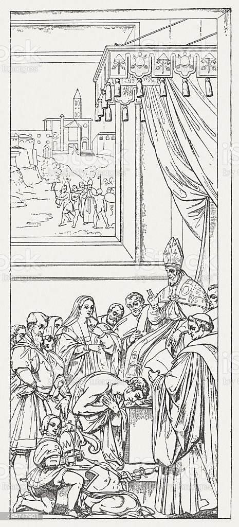 Henry IV in the Castle of Canossa, 1077, published 1881 royalty-free stock vector art