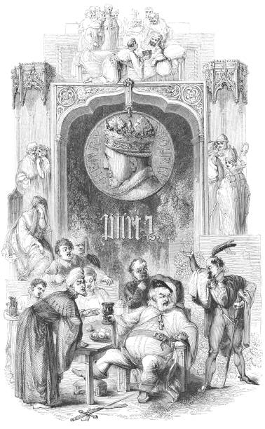 Henry IV, Part 2 - Works of William Shakespeare Henry IV, King of England's portrait surrounded by images in Henry IV, Part 2 from the Works of William Shakespeare. Vintage etching circa mid 19th century. chief justice stock illustrations