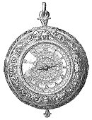 Antique Henry IV style silver pocket watch, these early versions only had an hour hand and typically worn around the neck on a chain (circa 1589–1610). Vintage etching circa mid 19th century.