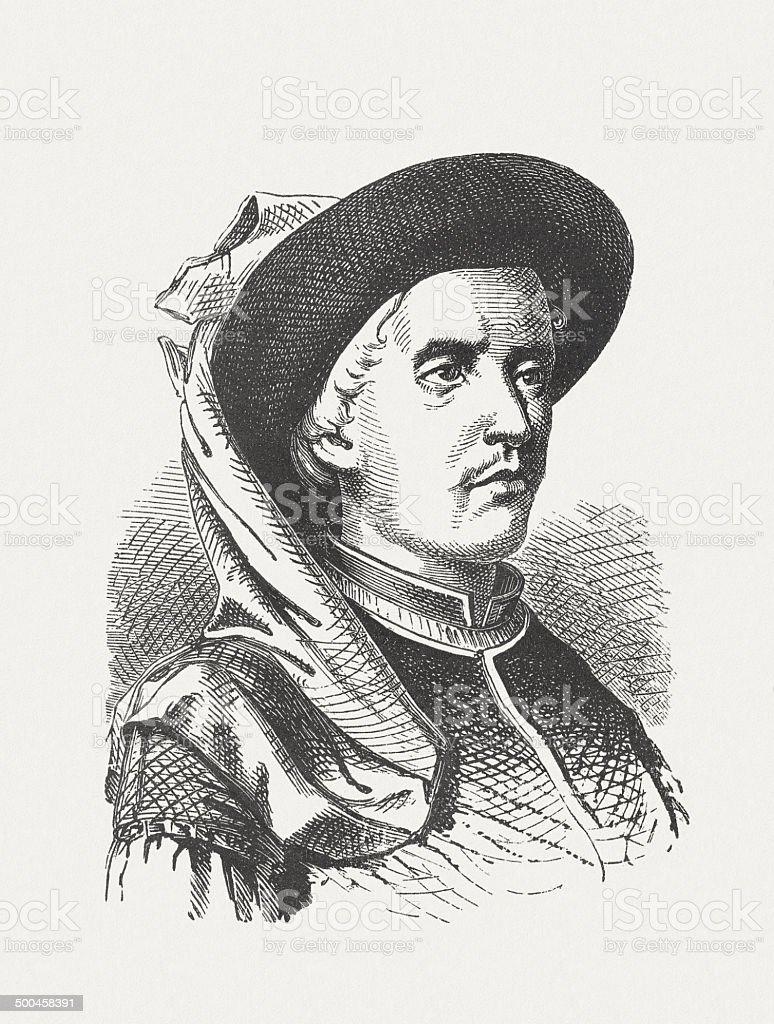Henry the Navigator (1394-1460), Portuguese navigator, wood engraving, published 1880 royalty-free stock vector art