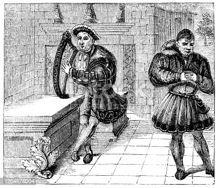 Henry VIII, King of England and his court jester William Sommers (circa 16th century) from the Works of William Shakespeare. Vintage etching circa mid 19th century.