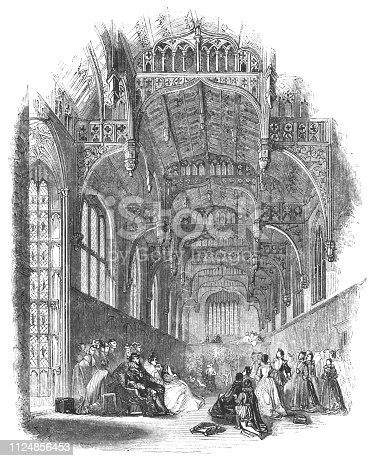 Henry VIII's Great Hall at Hampton Court Palace of Richmond-upon-Thames in London, England in the 17th century from the Works of William Shakespeare. Vintage etching circa mid 19th century.
