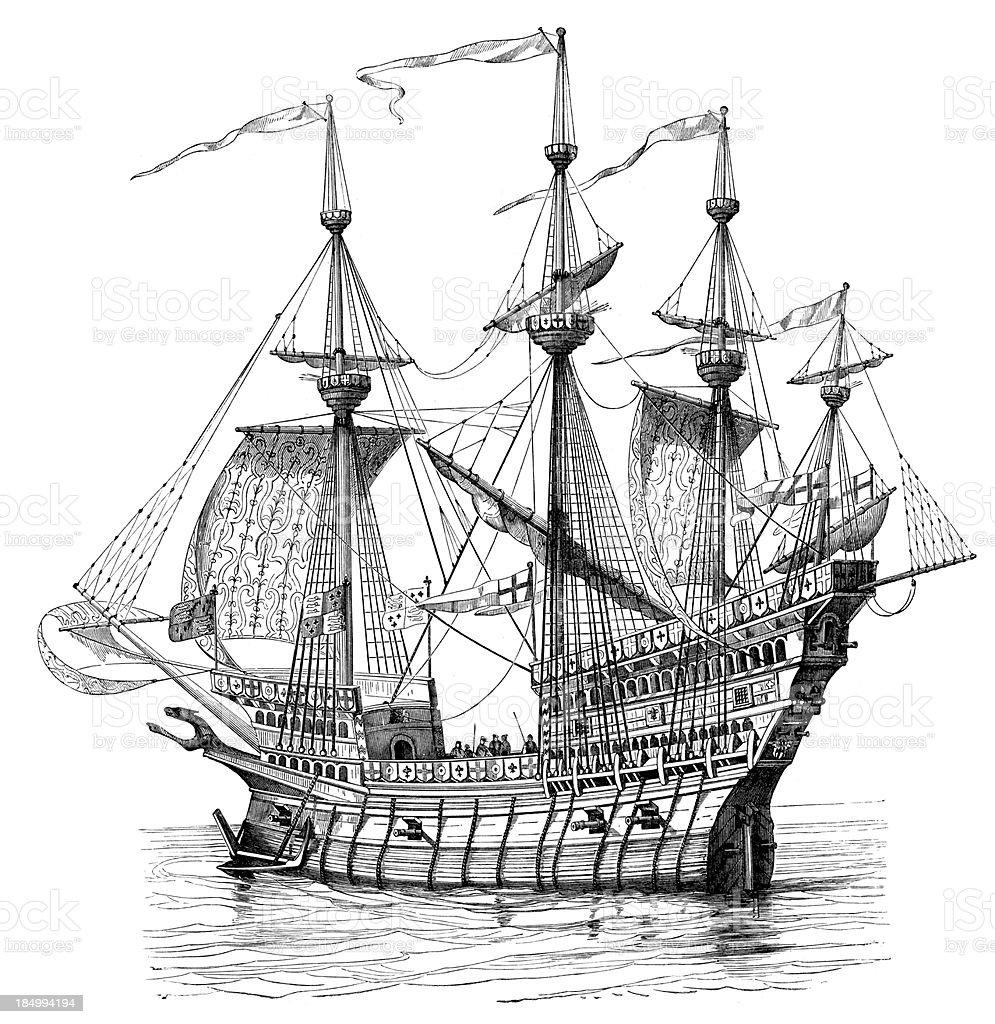 Enrique VIII el barco de guerra - ilustración de arte vectorial