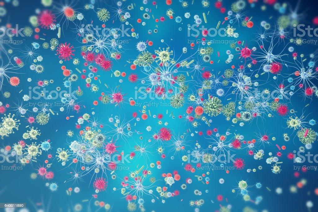 Hepatitis, H1N1, HIV, FLU, AIDS viruses abstract background. 3d rendering vector art illustration