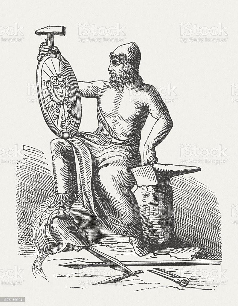 hephaestus greek god of blacksmiths wood engraving published in