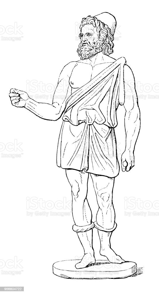 Hephaestus the god of fire and of craftsmen, son of Zeus and Hera; husband of Aphrodite vector art illustration