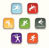 """""""A set of Heptathlon Event Icons. The outdoor heptathlon consists of the following events, with the first four contested on the first day, and the remaining three on day two - in order from top left to bottom right:"""""""