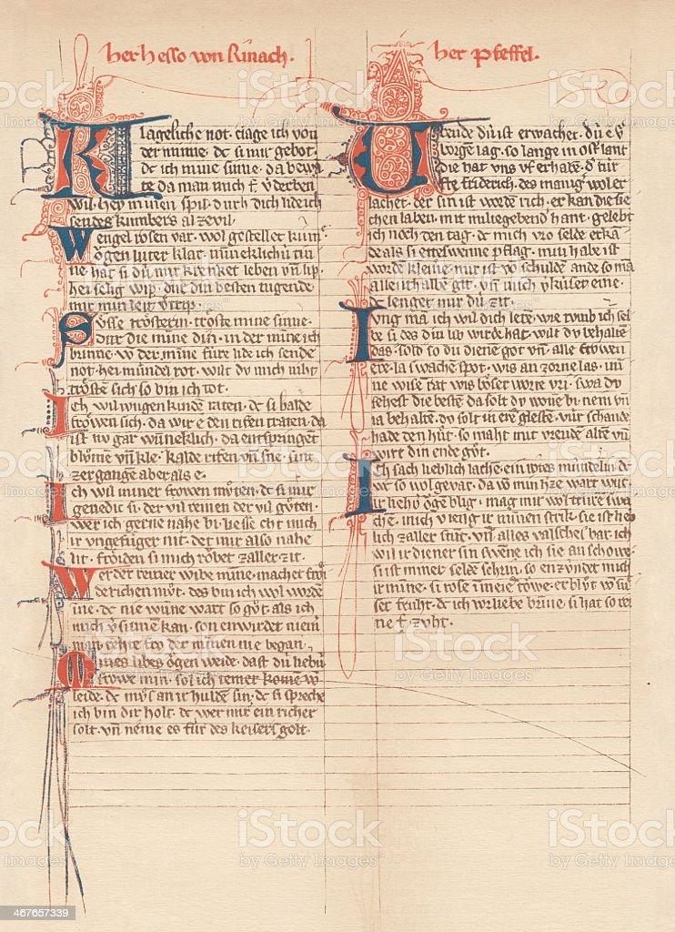 'Her Hesso von Renach' and 'Der Pfeffel', Codex Manesse (c.1300) royalty-free her hesso von renach and der pfeffel codex manesse stock vector art & more images of ancient