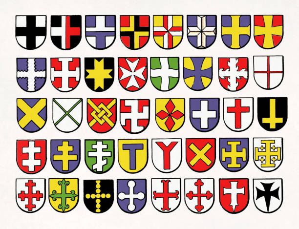 Heraldic cross variants from medieval Europe vector art illustration