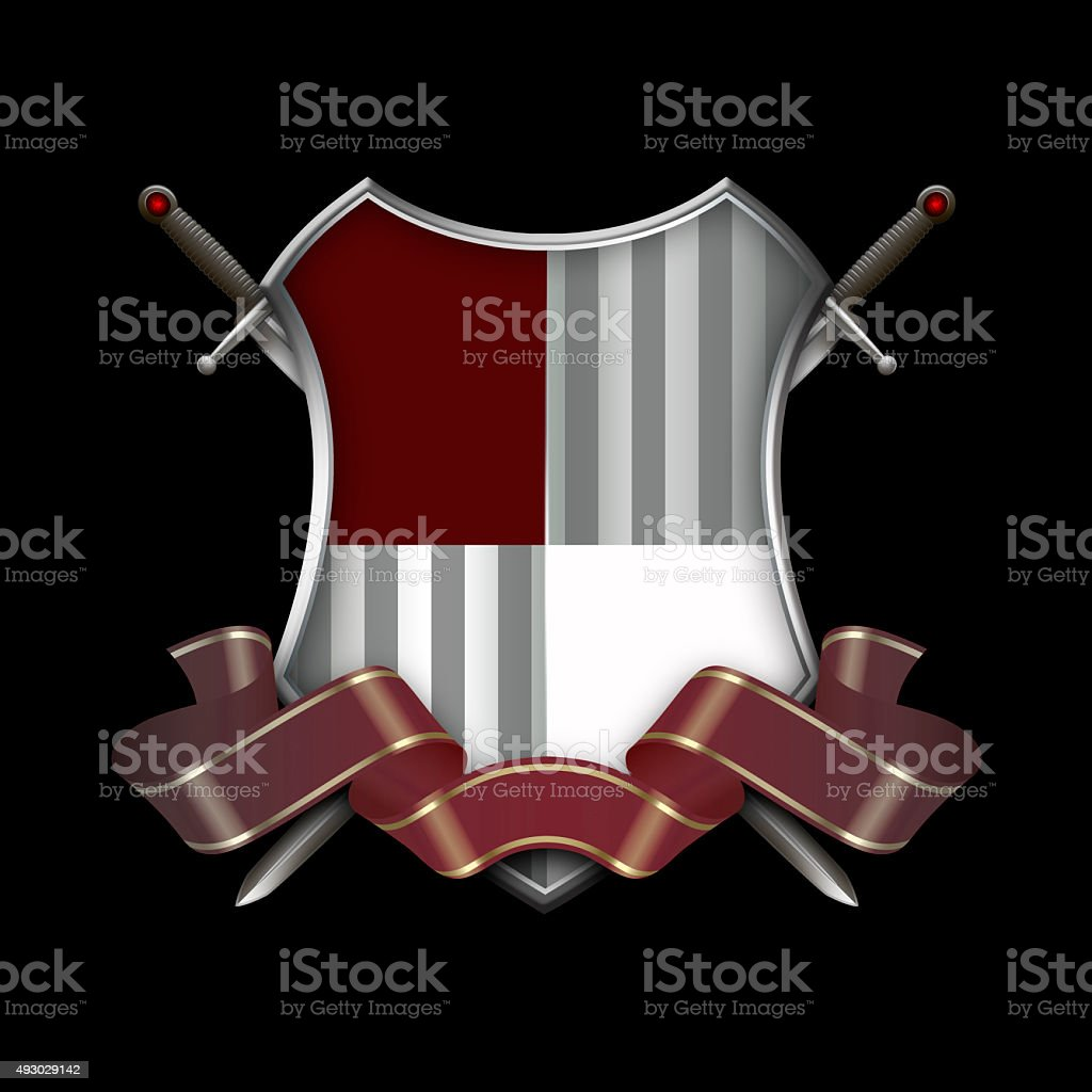 Heraldic shield with ribbon and swords. vector art illustration