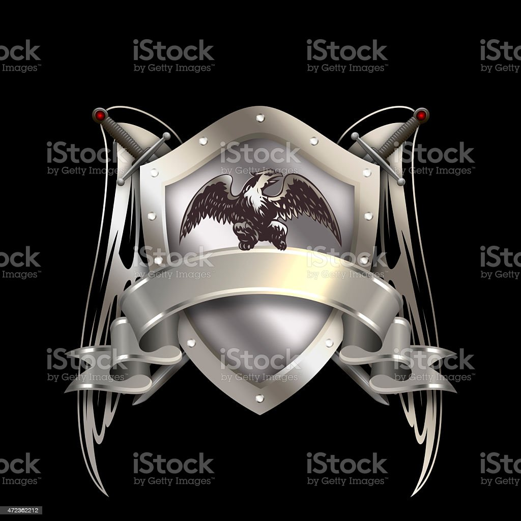 Heraldic shield with silver ribbon and swords. vector art illustration