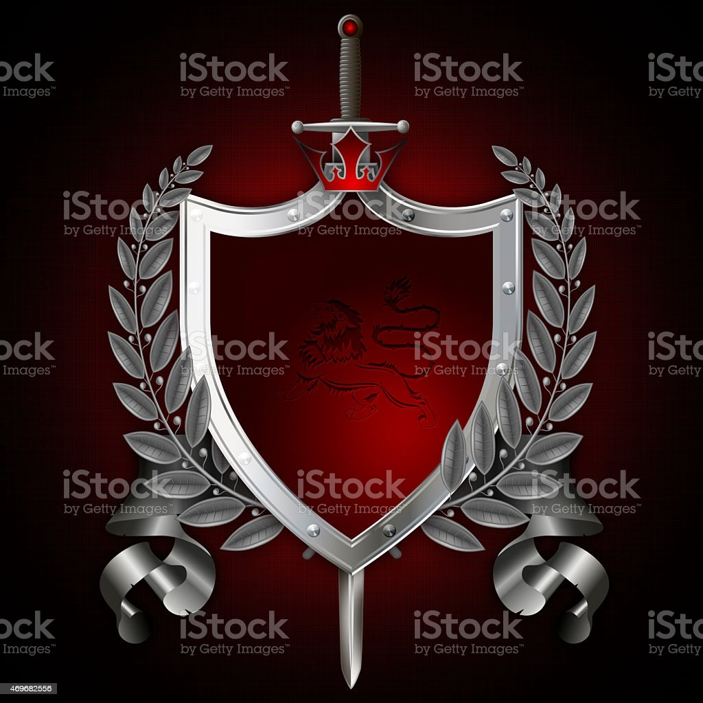 Heraldic shield with sword and laurel branch,red crown vector art illustration