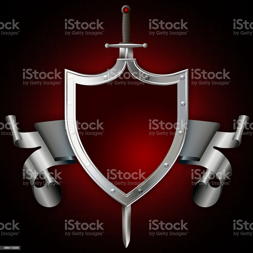 Heraldic shield with sword and silver ribbon. vector art illustration