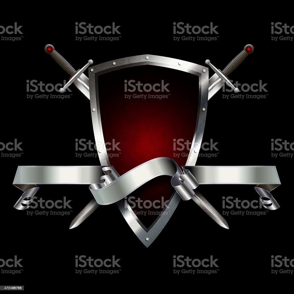 Heraldic shield with swords and ribbon. vector art illustration