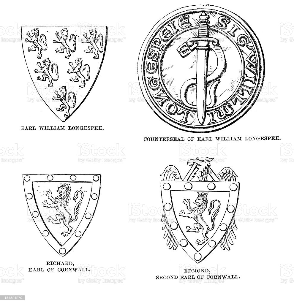 Heraldic Shields vector art illustration