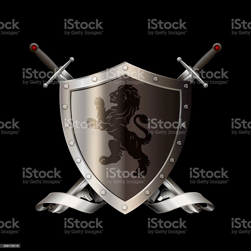 Heraldic silver shield with swords and ribbon. vector art illustration