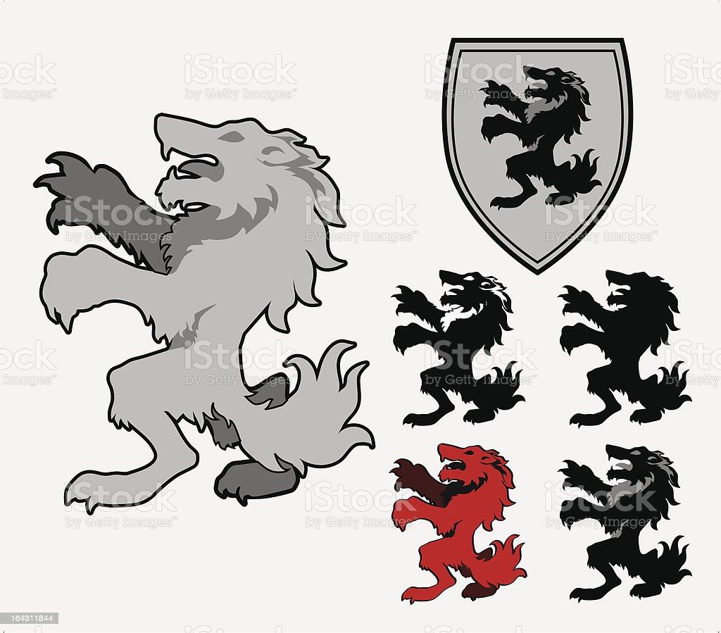 Heraldic Wolf vector art illustration