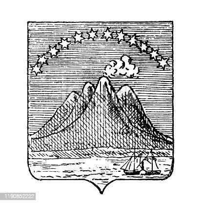 Illustration of a Heraldry, coat of arms San Salvador (El Salvador)
