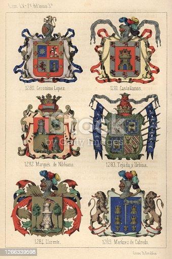 istock Heraldry, Coats of Arms of Spain, 19th Century 1266339598