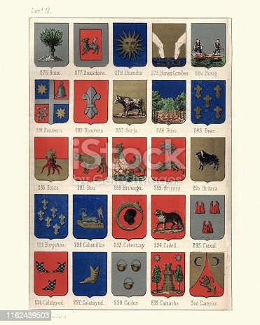 Vintage engraving of Heraldry, Coats of Arms of Spain. Nobiliario de los Reinos y senorios de espana, 1857