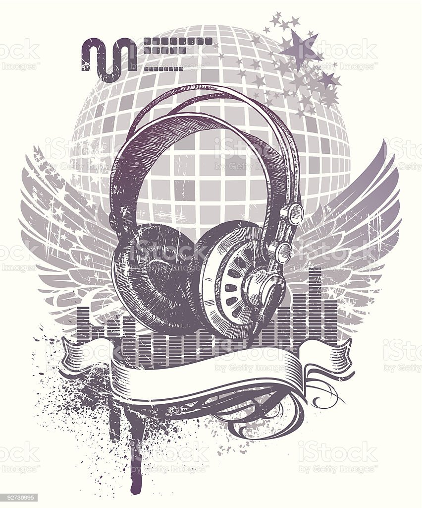 Heraldry with headphones - Royalty-free Animal Wing stock vector