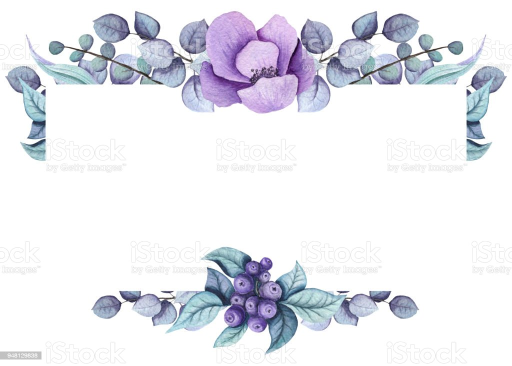 Herbal Frame With Light Pink Flower Stock Vector Art & More Images ...