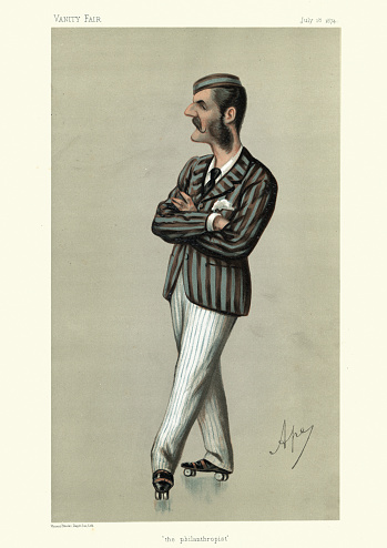 Herbert Mackworth-Praed, on roller skates, Vanity fair caricature