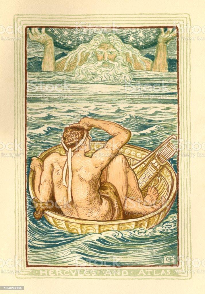 Hercules and Atlas - Greek mythology vector art illustration