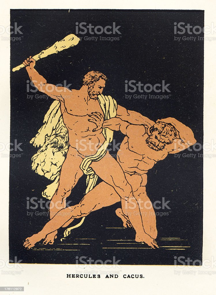 Hercules and Cacus vector art illustration