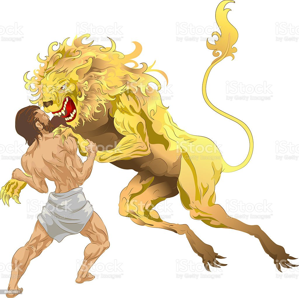 Hercules and the Nemean Lion royalty-free hercules and the nemean lion stock vector art & more images of adult