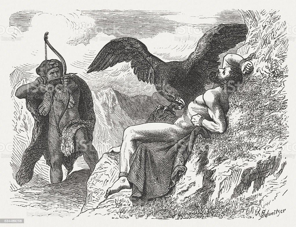 Hercules Freeing Prometheus Greek Mythology Wood Engraving ...