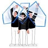The concept of Herd immunity. Protecting population from viruses. Vaccination. group of people hold transparent shields above their heads. Illustration