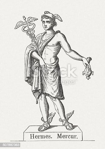 Hermes Greek God Of Transitions Wood Engraving Published ...