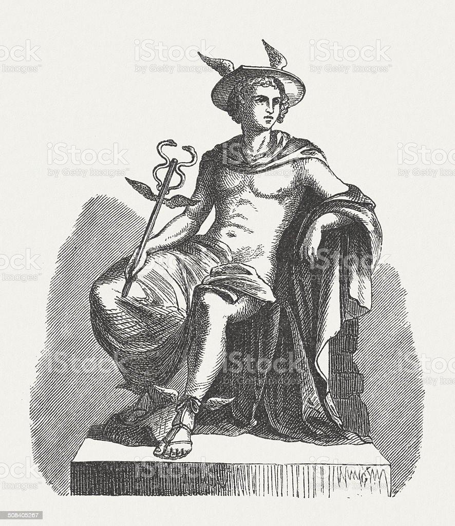 Hermes, Messenger of the Greek gods, wood engraving, published 1878 vector art illustration